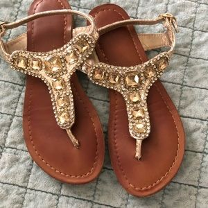 Sparkly faux gold stone sandals size 13 girls